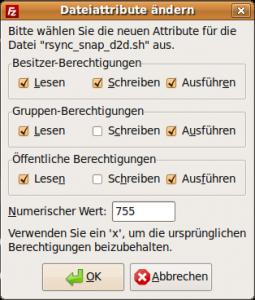 Screenshot: Dateiattribute von rsync_sync_d2d.sh (Filezilla)