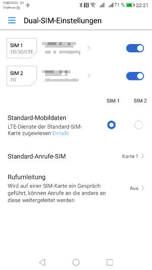 Dual-SIM Einsetellungen Huawei P8 Lite 2017