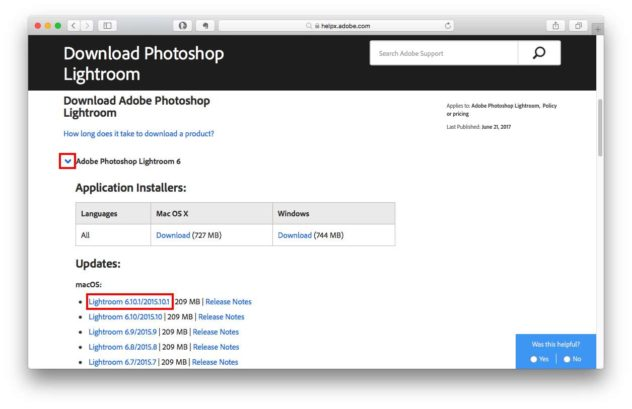 Lightroom-Updatesite