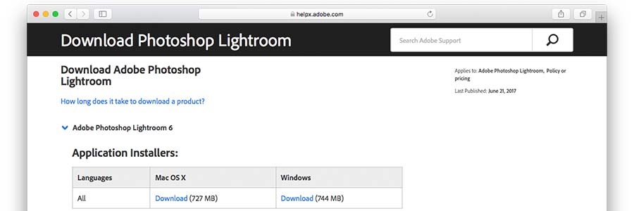 Lightroom Downloadsite