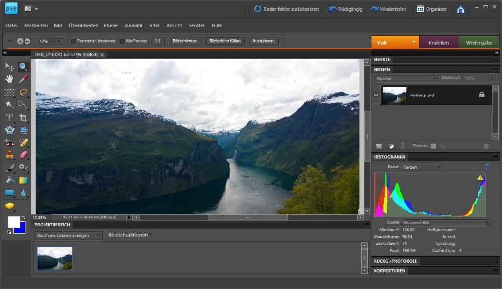 Screenshot Photoshop Elements 8 - Editor (Full Edit) - German version