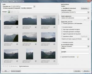 Dialogbox: Fotoimport von Kamera