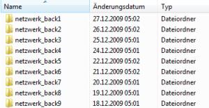 Verzeichnisstruktur des Backups