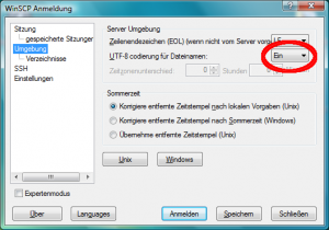 Activate UTF-8 on WinSCP - German version